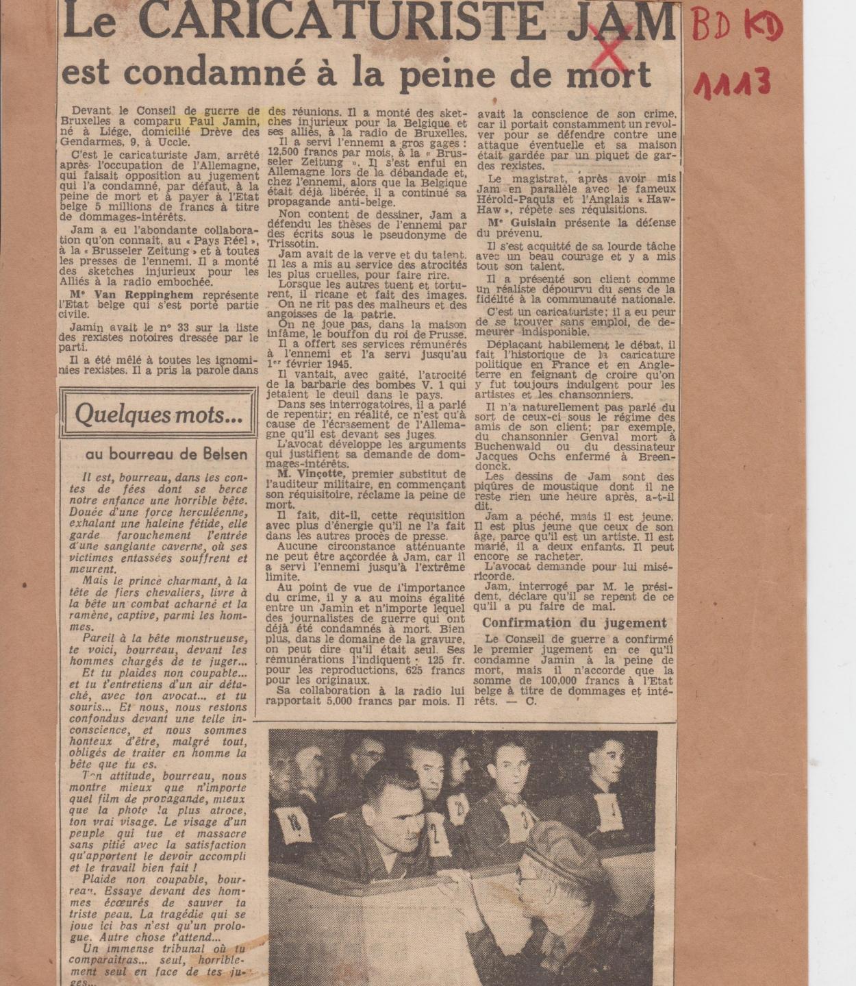 BDKD1113_Paul Jamin_Dernière Heure_condamnation (25.09.1945)