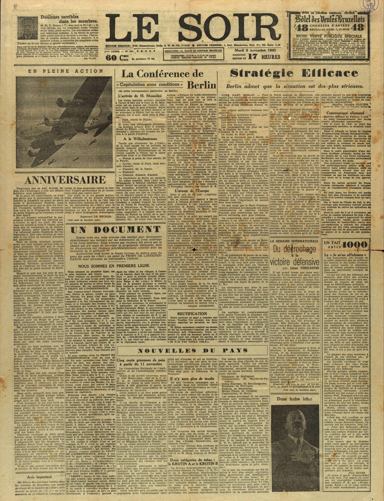 Le Soir, 9 novembre 1943