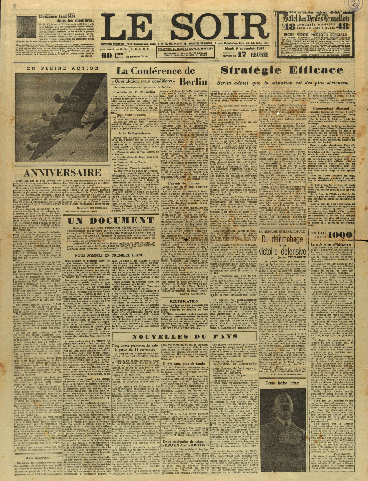 Le Soir, 9 november 1943
