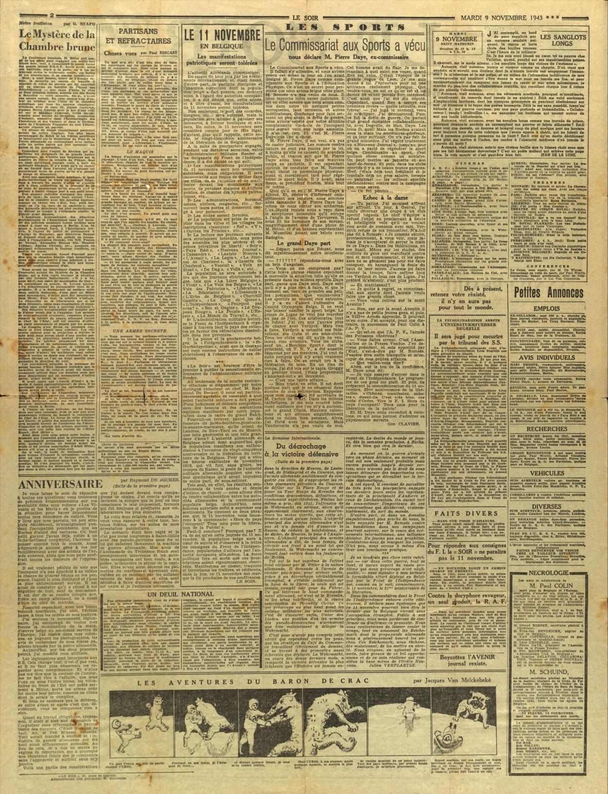 Le faux Soir, 9 novembre 1943